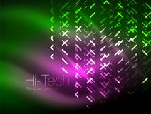 Futuristic neon lights on dark background, digital abstract techno backgrounds Stock Images