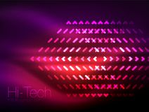 Futuristic neon lights on dark background, digital abstract techno backgrounds. Glowing shiny lines template with sparkle effects stock illustration