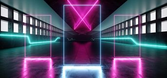 Futuristic Neon Sci Fi Vibrant Glowing Purple Blue White Hall Huge Windows Concrete Grunge Lasers Stage Corridor Entrance Gate. Path Virtual Abstract Shapes royalty free illustration