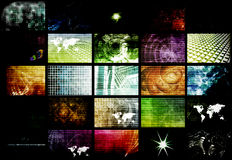Futuristic Network Energy Data Grid Stock Image