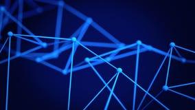 Futuristic network shape. 3D render illustration. Futuristic blue network shape with shallow DOF. Abstract technology concept. 3D render illustration vector illustration