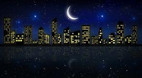 Night city, neon light. vector illustration