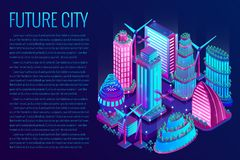 The futuristic night city is illuminated by neon lights in isometric style. Vector illustration