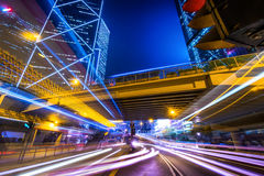 Futuristic night cityscape view. Hong Kong Royalty Free Stock Images