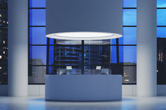 Futuristic office interior with a round room equipped with computers. Stock Images