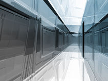 Futuristic open space, clean room with shapes in 3d, business sp Stock Photos