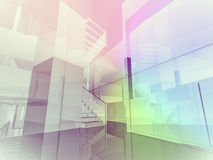 Futuristic open space, clean room with shapes in 3d, business sp Royalty Free Stock Photography