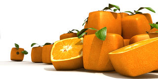 Futuristic oranges. Composition with Piles of cubic oranges Royalty Free Stock Photos