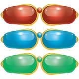 Futuristic Pair Glass Button Royalty Free Stock Photos