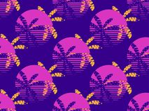 Futuristic palm tree and sun seamless pattern. Synthwave retro background 1980s style. Retrowave. Vector. Illustration stock illustration