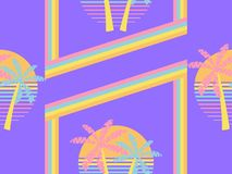 Futuristic palm tree and sun seamless pattern. Synthwave retro background 1980s style. Retrowave. Vector. Illustration vector illustration