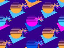 Futuristic palm tree and sun seamless pattern. Synthwave retro background 1980s style. Retrowave. Vector royalty free illustration