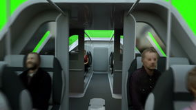 Futuristic passenger flying bus. Transport of the future. Green screen 4K animation. stock video