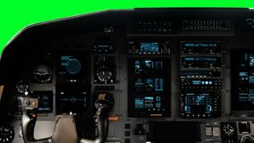 Futuristic Pilot Cockpit Yoke with a Full Operative Dashboard on a Green Screen on a Green Screen. Futuristic Spaceship Cockpit Dashboard with Functional stock video