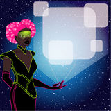 Futuristic pink haired woman with a holographic display Royalty Free Stock Images