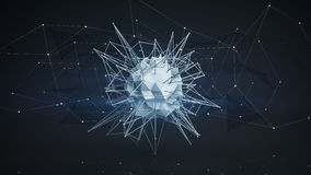 Futuristic polygonal network shape. Abstract 3d render Royalty Free Stock Photo