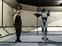 Futuristic prisoner and guard Royalty Free Stock Photo
