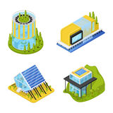 Futuristic Private Houses with Plants. Modern Architecture. Isometric flat 3d illustration Stock Images