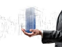 Futuristic project of a building Royalty Free Stock Photos