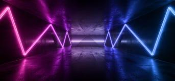 Futuristic Purple Blue Neon Alien Sci Fi Dark Empty Cement Concrete Reflective Grunge Hall Underground Laser Beam Garage Night