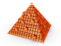 Futuristic pyramid. Orange 3d futuristic pyramid with some parts detached Stock Photos