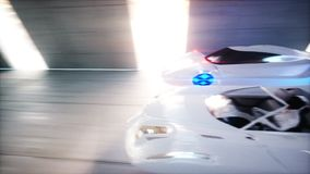 Futuristic race. flying cars fast driving in sci fi tunnel, coridor. Concept of future. Realistic 4K animation.