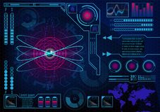 Futuristic radar atom user interface. HUD. Infographics futurist. Ic blue background. GUI hologram set with world map. Digital business data for web app. Lungs Royalty Free Stock Image