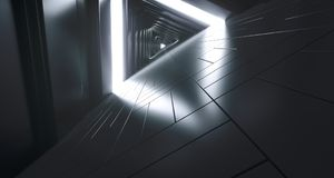 Futuristic Realistic Sci-FI Corridor With White Lights And Refle. Futuristic Realistic Large Sci-FI Corridor With White Lights And Reflections. 3D Rendering Royalty Free Stock Image