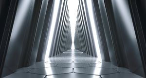 Futuristic Realistic Sci-FI Corridor With White Lights And Refle. Futuristic Realistic Large Sci-FI Corridor With White Lights And Reflections. 3D Rendering Royalty Free Stock Images
