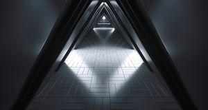 Futuristic Realistic Sci-FI Corridor With White Lights And Refle. Futuristic Realistic Large Sci-FI Corridor With White Lights And Reflections. 3D Rendering Stock Images