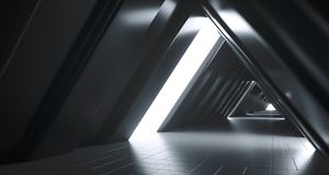 Futuristic Realistic Sci-FI Corridor With White Lights And Refle. Futuristic Realistic Large Sci-FI Corridor With White Lights And Reflections. 3D Rendering Stock Photos
