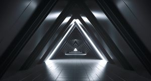 Free Futuristic Realistic Sci-FI Corridor With White Lights And Refle Royalty Free Stock Photography - 117317017