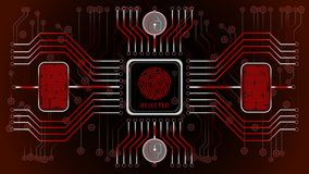 Futuristic red abstract background. Rejected. Biometric control and personality confirmation. Scheme of control of fingerprints. Security of information in a Stock Photos