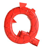 Futuristic red cracked letter. 3D illustration Royalty Free Stock Photo
