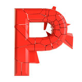 Futuristic red cracked letter. 3D illustration Royalty Free Stock Images