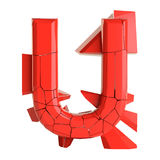 Futuristic red cracked letter. 3D illustration Royalty Free Stock Photography