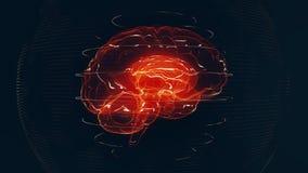 Futuristic red digital brain. Neurons firing in MRI scan