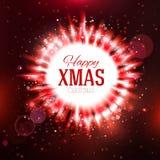 Futuristic red Happy Xmas star Royalty Free Stock Image