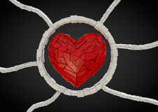 Futuristic red heart Stock Images