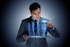 The futuristic remote diagnostics concept with businessman royalty free stock photos