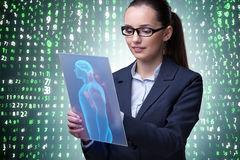 The futuristic remote diagnostics concept with businesswoman royalty free stock photography