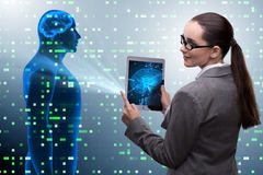 The futuristic remote diagnostics concept with businesswoman royalty free stock images