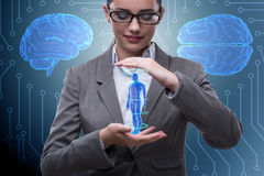 The futuristic remote diagnostics concept with businesswoman royalty free stock image