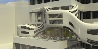 futuristic restaurang för cafe Fotografering för Bildbyråer
