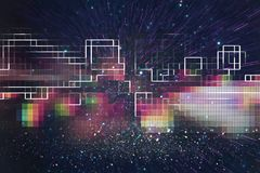 Futuristic retro background of the 80`s retro style. Digital or Cyber Surface. neon lights and geometric pattern. Futuristic retro background of the 80`s retro royalty free illustration