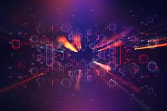 Futuristic retro background of the 80`s retro style. Digital or Cyber Surface. neon lights and geometric pattern.  Royalty Free Stock Images