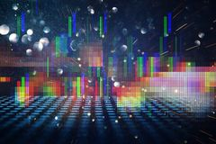 Futuristic retro background of the 80`s retro style. Digital or Cyber Surface. neon lights and geometric pattern.  Stock Photography