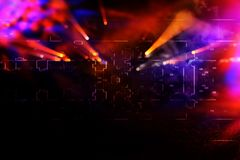 Futuristic retro background of the 80`s retro style. Digital or Cyber Surface. neon lights and geometric pattern.  Stock Image