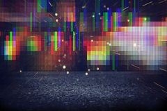 Futuristic retro background of the 80`s retro style. Digital or Cyber Surface. neon lights and geometric pattern.  stock illustration