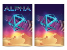Futuristic retro landscape of the 80`s Layout with Vibrant colors. 80s style. Abstract Flyer design royalty free illustration